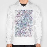 austin Hoodies featuring Austin map by MapMapMaps.Watercolors