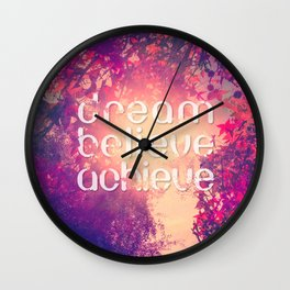 Autumn Sunshine and Pink Purple Maple Trees Wall Clock