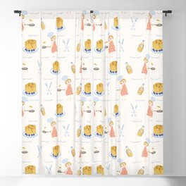 Cute girl cook with pancake and chef hat illustration Blackout Curtain