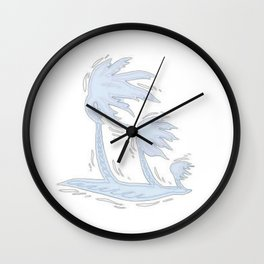 blowin' blue Wall Clock