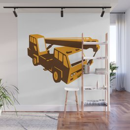 truck crane cartage hoist retro Wall Mural