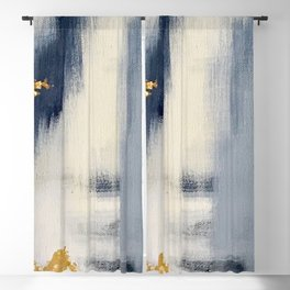 Blue and Gold Ikat Abstract Pattern #2 Blackout Curtain