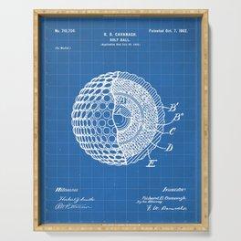 Golf Ball Patent - Golfer Art - Blueprint Serving Tray