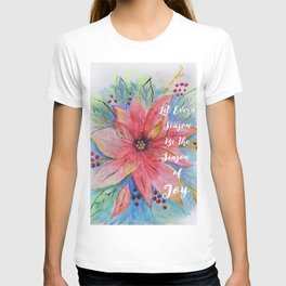 "Pretty watercolor poinsettia ""Let every season be the season of joy"" quote T-shirt"