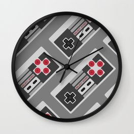 Retro Video Game Pattern Wall Clock