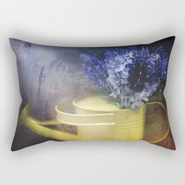 One yellow watering can with violet flowers Rectangular Pillow
