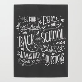 Back to school typography drawing on blackboard with motivational messages, hand lettering Poster