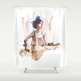 A Girl with a Blue Ribbon Shower Curtain