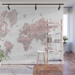 Explore - Dusty pink and grey watercolor world map, detailed Wall Mural