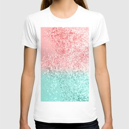 Summer Vibes Glitter #3 #coral #mint #shiny #decor #art #society6 T-shirt