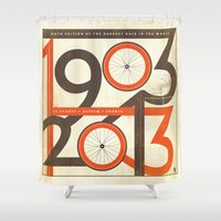 tour de france Shower Curtains featuring 100 Years of The Tour de France by Dushan Milic