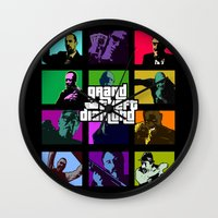 grand theft auto Wall Clocks featuring Grand Theft Diamond Snatchers by Ant Atomic
