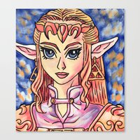 legend of zelda Canvas Prints featuring Zelda by MSG Imaging
