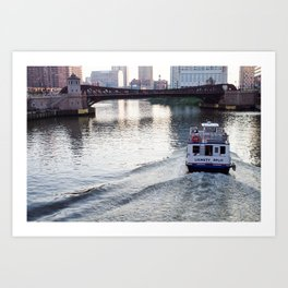 Evening on the Chicago River Art Print