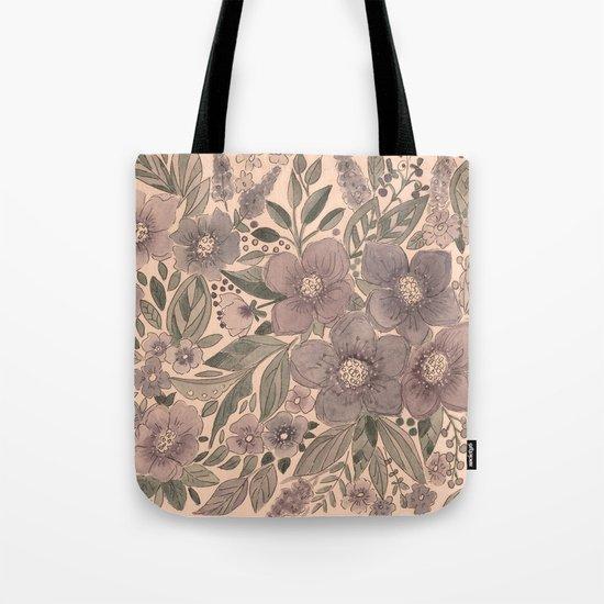 Watercolor . Flowers retro . Tote Bag