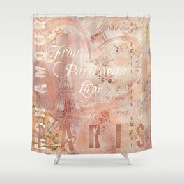 From Paris With Love In Salmon-Rosé Shower Curtain