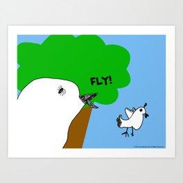Fly! Little Birds Leaves the Nest Art Print