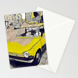 Old yellow vintage daf car in Milano Stationery Cards