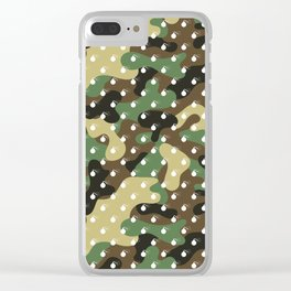 CAMO & WHITE BOMB DIGGITYS ALL OVER LARGE Clear iPhone Case