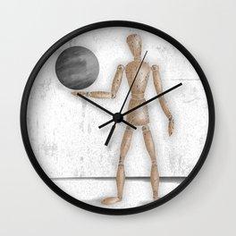 Man With A Globe - Grey  Wall Clock