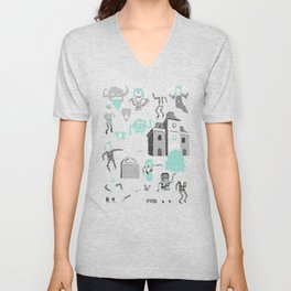 Wow! Ghosts!  Unisex V-Neck
