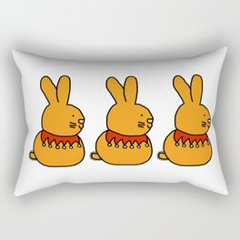 Cute gold bunny with a fancy beaded collar Rectangular Pillow