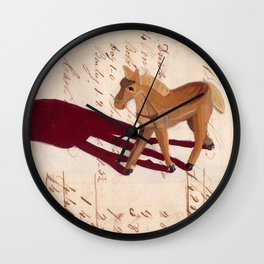 Vintage Wood Carved Horse in Gouache Wall Clock