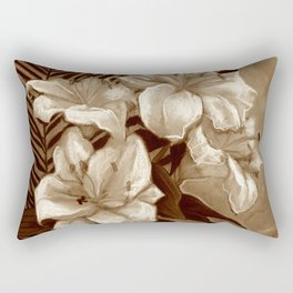 White Lilies and Palm Leaf in brownscale Rectangular Pillow
