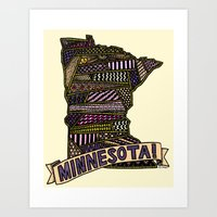 minnesota Art Prints featuring Minnesota! by Colora + Co.