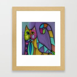 Cat of Many Colors Abstract Digital Painting  Framed Art Print