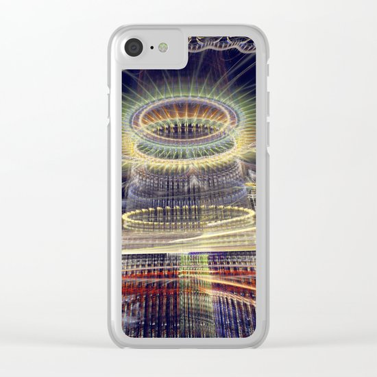 The Tower, Surrealistic mixed media art Clear iPhone Case