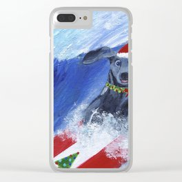 Christmas Surfing Weimaraner Clear iPhone Case