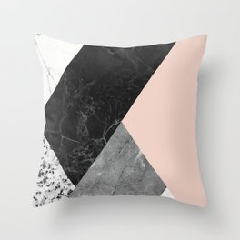 Black and White Marbles and Pantone Pale Dogwood Color Throw Pillow