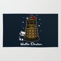 david tennant Area & Throw Rugs featuring Hello Doctor Tennant by RebelArtCollective