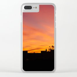 Orange Sunset over Madrid Clear iPhone Case