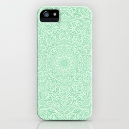 Most Detailed Mandala! Mint Green Color Intricate Detail Ethnic Mandalas Zentangle Maze Pattern iPhone Case