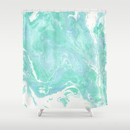 Marble texture background, white blue green marble pattern Shower Curtain