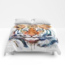 Tiger Head watercolor Comforters