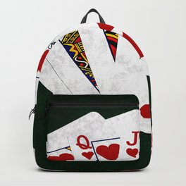 Poker Royal Flush Hearts Backpack