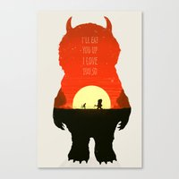 wild things Canvas Prints featuring Wild Things by Duke Dastardly
