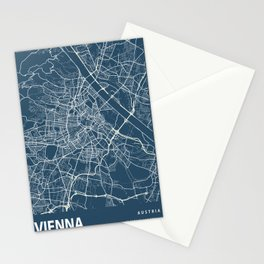 Vienna Blueprint Street Map, Vienna Colour Map Prints Stationery Cards