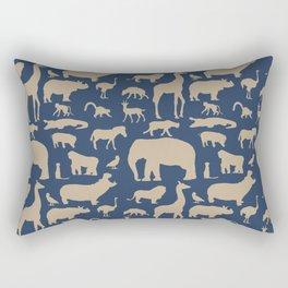 African Fauna // Khaki & Navy Rectangular Pillow