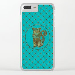 Zentangle  Cat Embossed on Faux Leather Clear iPhone Case