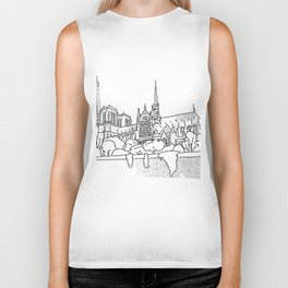 Notre Dame and Eiffel Tower travel scene Biker Tank