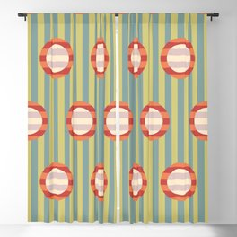 Art Deco Op Art Striped Circles Blackout Curtain