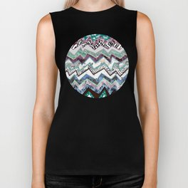 Cool Blues Zigzags Abstract Biker Tank