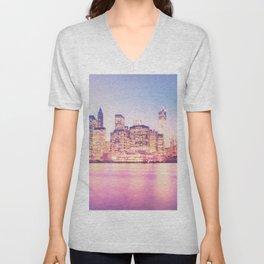 New York City Skyline - Lights Unisex V-Neck