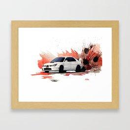 Subaru STi Drift Watercolor Painting Framed Art Print