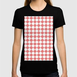 Diamonds - White and Coral Pink T-shirt