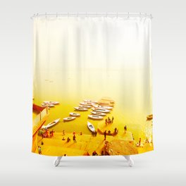 Golden shores of the Ganges river Shower Curtain